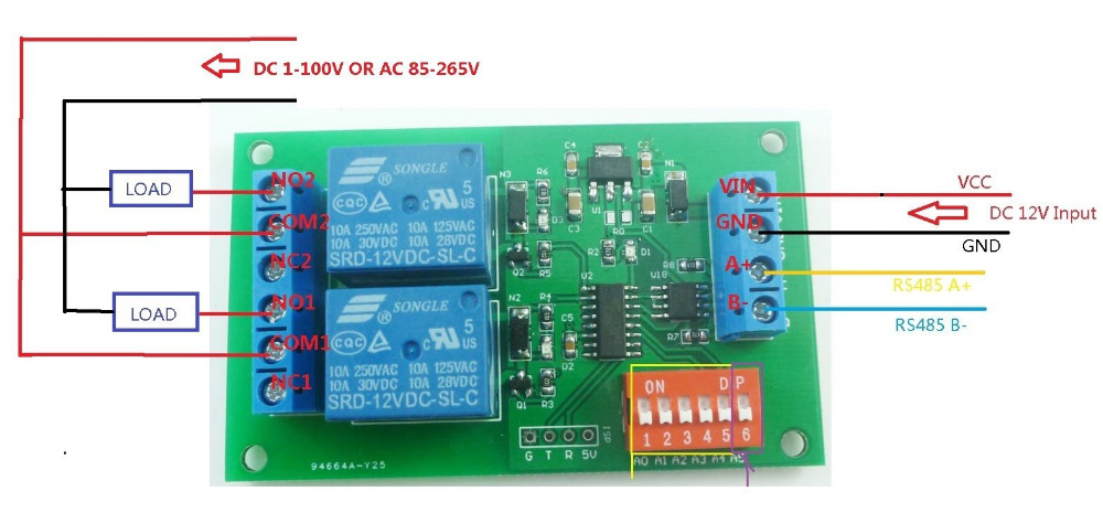 2CH RS485 Relay DC 12V Switch Board Modbus POLL AT command PLC for PTZ camera Electric door Water pumps LED Motor +case feed motor board for roland rs 640