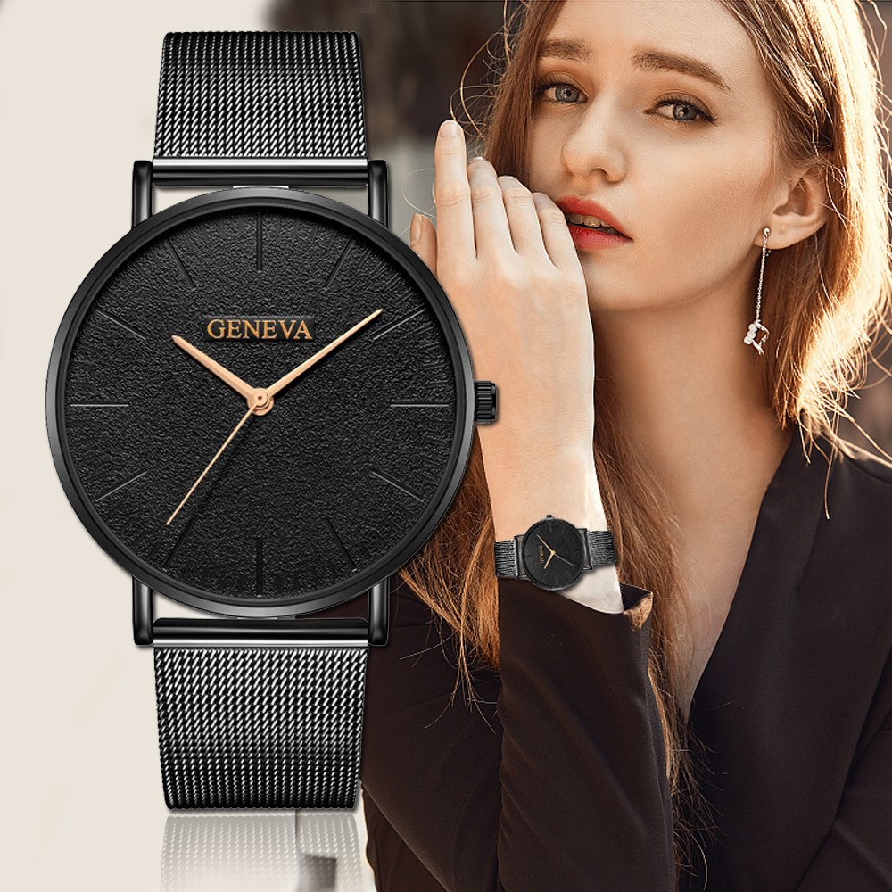 Fashion New Arrival Geneva Watch For Women Luxury Mesh Band Stainless Steel Analog Quartz Wristwatch Lady Black Business Watches