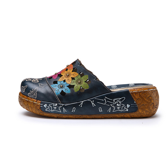 Genuine Leather Slip On Clogs