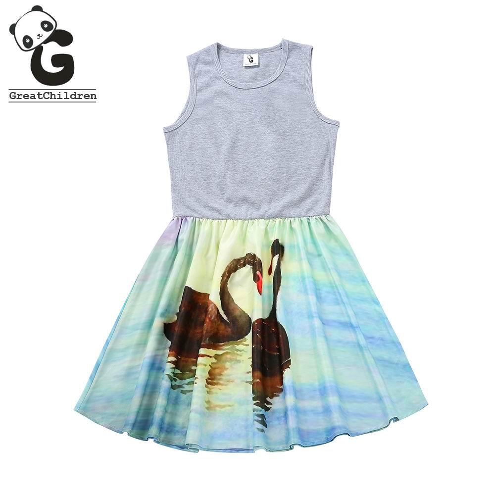 Girls Dress Sleeveless Stitching Dress Girl Swan Princess Dress Children Clothing Kids Dresses for Girls 8-14Years