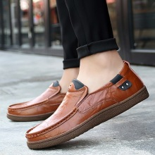 2019 New Men Loafers Luxury Brand Shoes Fashion Casual Male Lace Leather Designer Flat