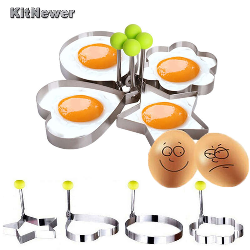 4 pieces Stainless steel Cute Shaped Fried Egg Mold Pancake Rings Mold Kitchen Tool