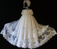 Two Tiers Embroidery Lace Beads Baby Baptism Gowns for Boys and Girls Lace Applique christening gowns with Bonnet