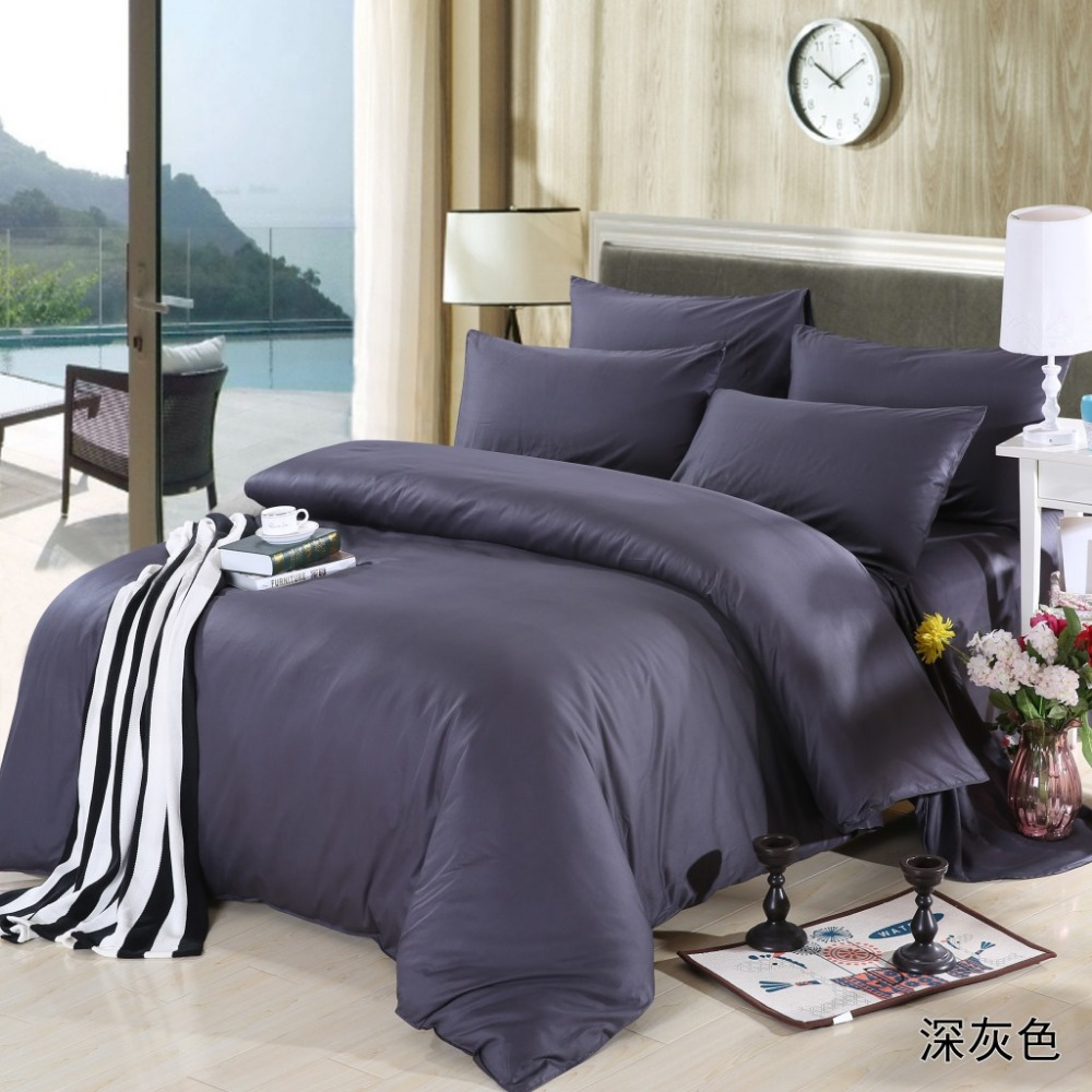 Black and grey bedding - New Dark Grey Theme High Quality Home Bedding Set 2 Pillow Case 1 Bed Sheet And 1 Duvet Cover Bed Cover