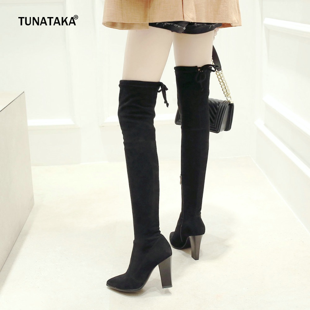 Women Flock Side Zipper Faux Suede Thick High Heel Over The Knee Boots Fashion Pointed Toe Thigh Elastic Boots Black