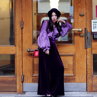MX High Quality Women Autumn Vintage Ethnic Embroidery Sequined Purple Velvet High Waist Wide Leg