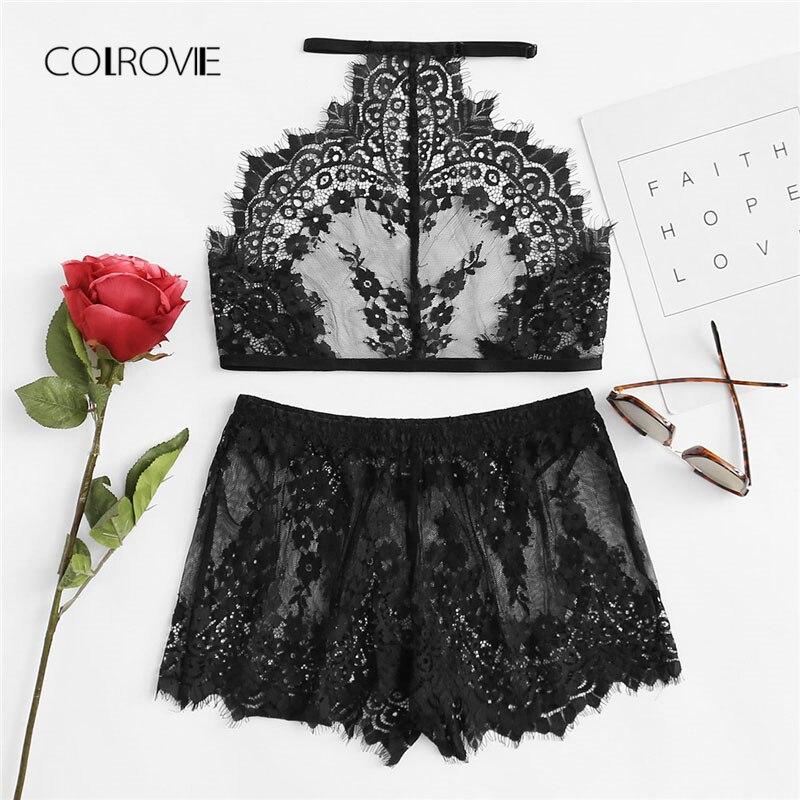 COLROVIE Eyelash Lace Halter And Shorts Pajama Set 2018 New Arrival Floral Ladies Sleepwear Black Sheer Sexy Nightwear