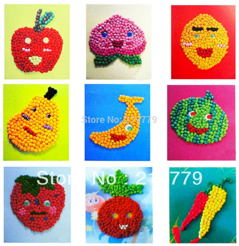Sticky paper for crafts - Online Shop Early Learning Tissue Paper Art Stickers Fruit Vegetables Diy Handmade Crumpled Paper Ball Art Craft For Kids For Children Aliexpress Mobile
