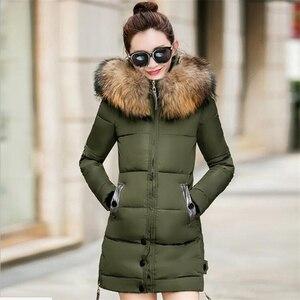 Image 5 - Kış ceket kadınlar büyük kürk kapüşonlu Parka uzun palto pamuk yastıklı bayanlar kış ceket kadın sıcak kalınlaşmak Jaqueta Feminina Inverno