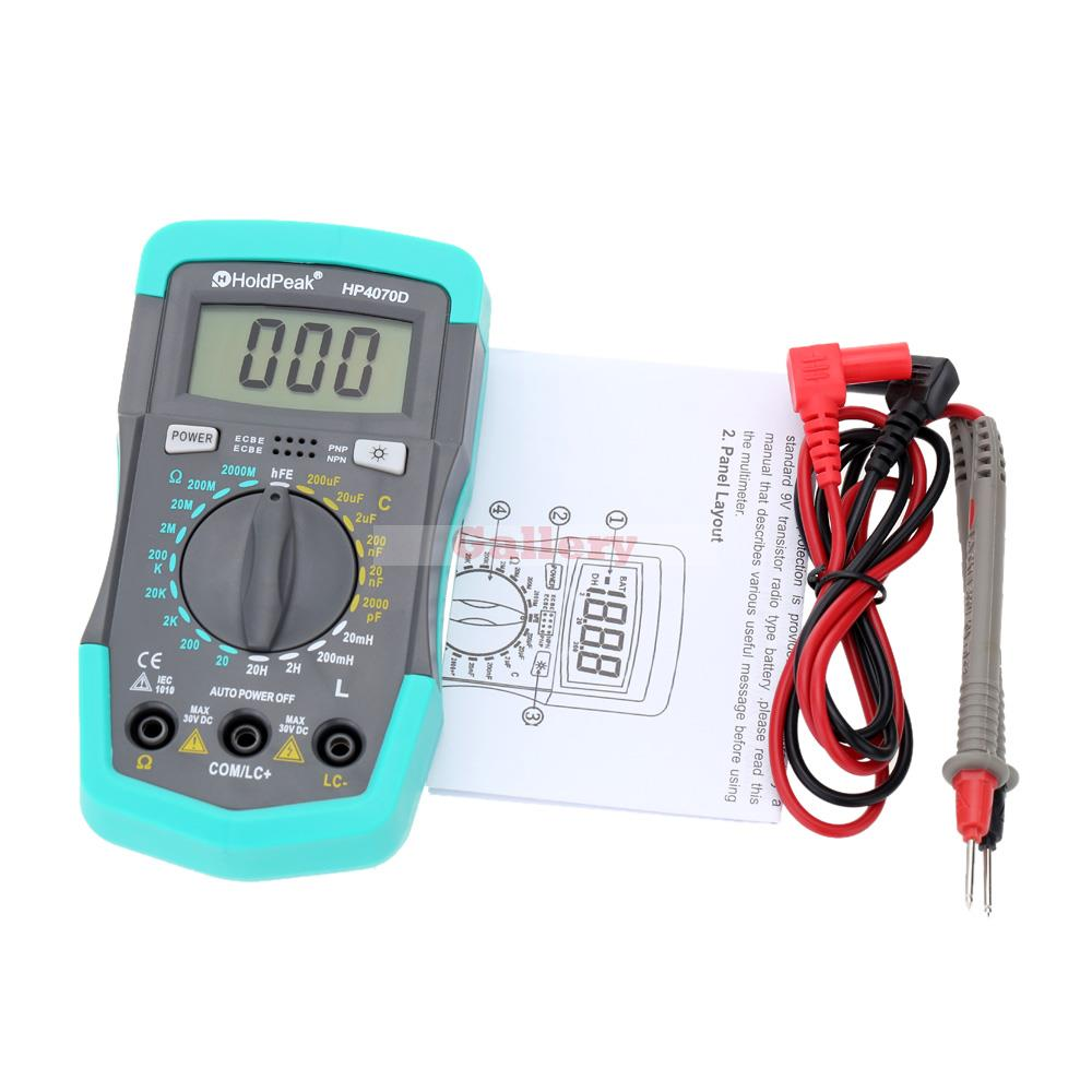 Holdpeak Hp4070d Mini Digital Multimeter Resistancetester Capacitance Meter Inductance Transistor Test Electrical Instruments 1 pcs mastech ms8269 digital auto ranging multimeter dmm test capacitance frequency worldwide store