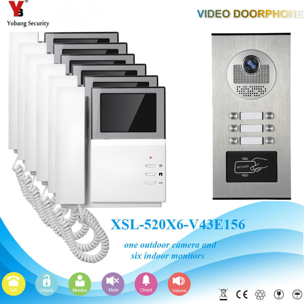 YobangSecurity Video Intercom 4.3 Inch Video Door Phone Doorbell Intercom System RFID Access Door Camera For 6 Unit Apartment yobangsecurity home security video door phone system 7inch video doorbell door intercom rfid access control 1 camera 4 monitor