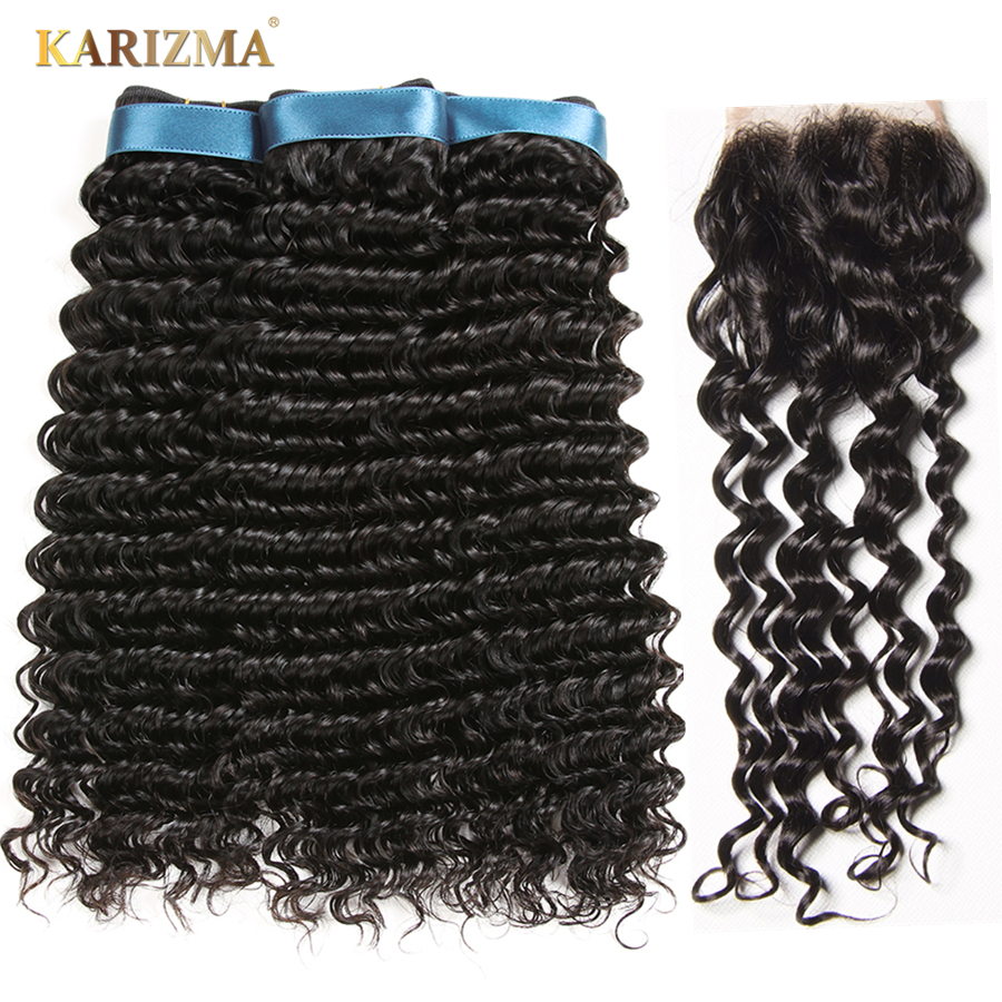 Karizma Deep Wave Bundles With Closure Non Remy Human Hair 3 Bundle Lace Closure Deals Peruvian