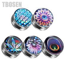 TBOSEN 2PCS Custom Ear Piercing Tunnels Stretcher Gauges Plug Screw Fashion Expander Steel Body Jewelry Earrings Gift 6mm to 30m