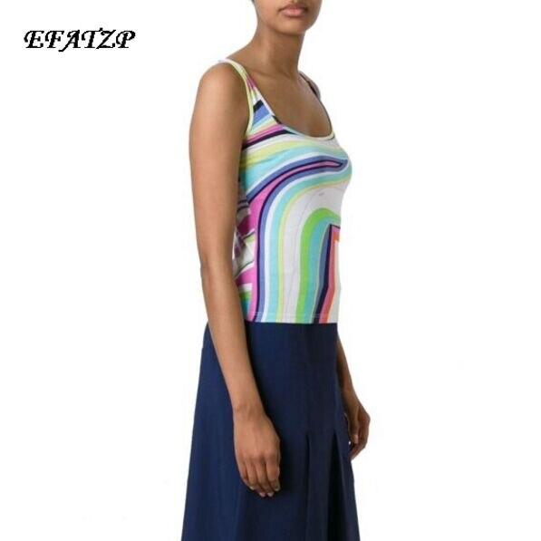 New 2017 Summer Luxury Brands Designer Top Women s Sleeveless Geometry Printed Casual vest Silk Jersey