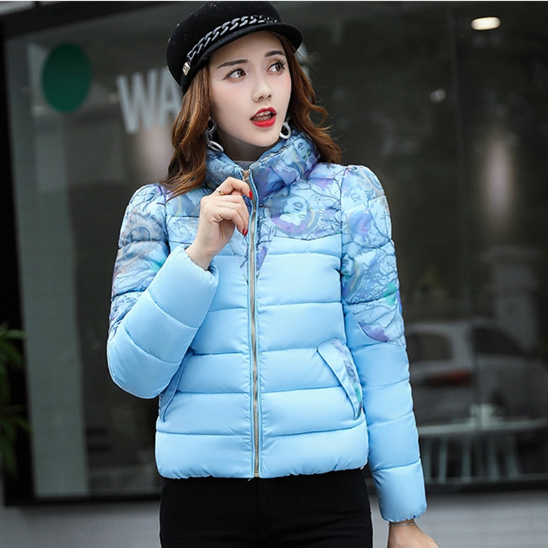 2017 NEW HOT SALE WOMEN WINTER JACKER PLUS SIZE SLIM FASHION JOKER PRINT SHORT FEMALE PARKAS COTTON PADDED HIGH QUALITY ZL339