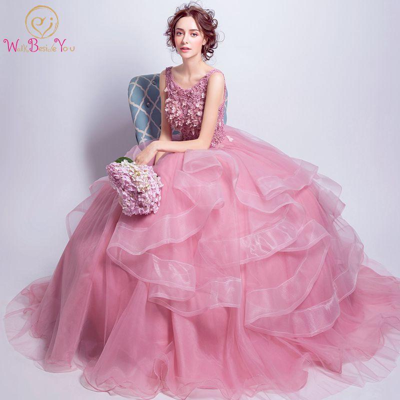 Walk Beside You Pink Prom Dresses 2018 Ball Gown Ruffles Flower ...