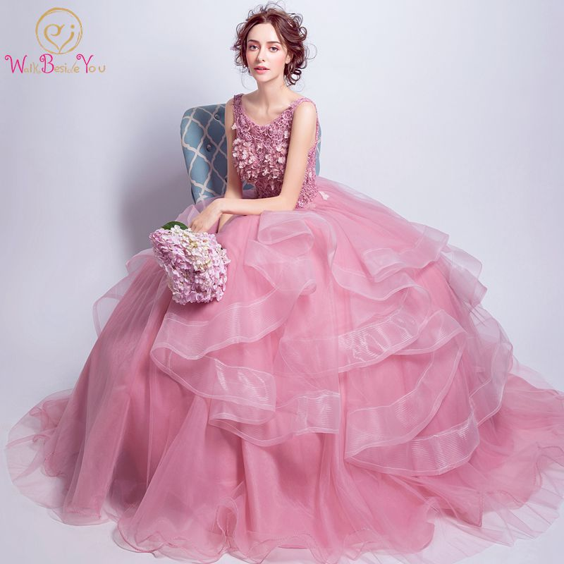 Walk Beside You Pink   Prom     Dresses   2018 Ball Gown Ruffles Flower Crystal Sleeveless vestido longo Formal Evening Gowns Lace Up