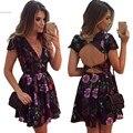 Ашион женщины sexy глубокий V-образным Вырезом спинки платье мини спинки платье для партии леди клубная одежда лето vestidos плюс размер