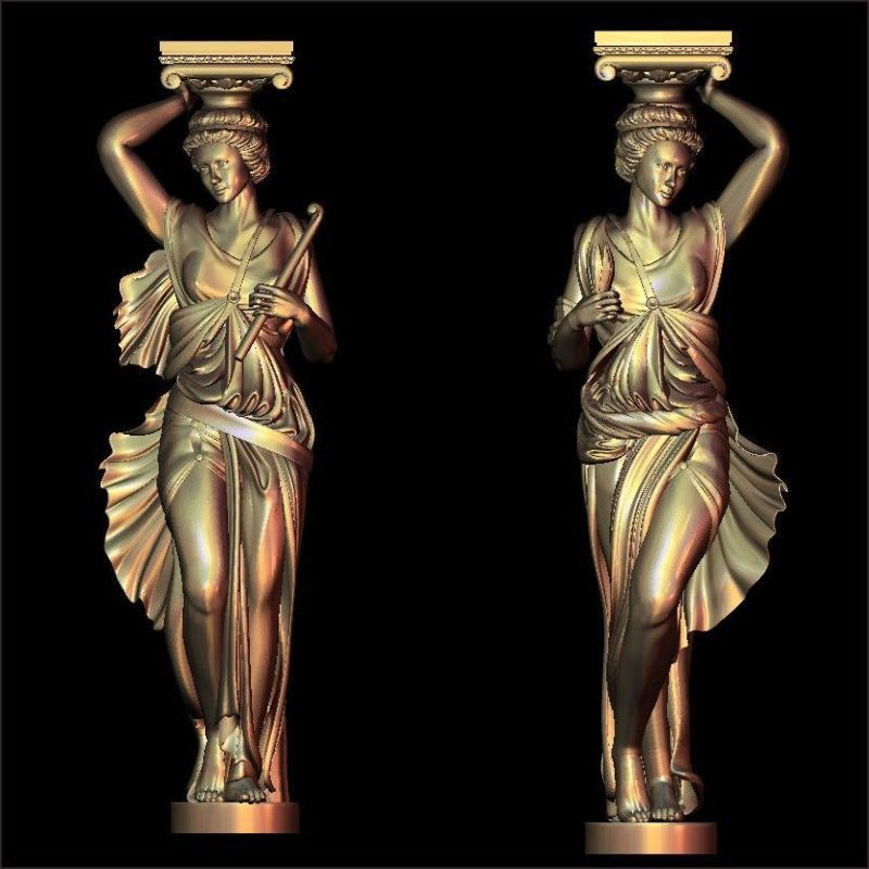 2pcs/lot Woman pillars_1 3d model STL relief for cnc STL format woman 3d model for cnc stl relief artcam vectric aspire 3d model relief for cnc in stl file format animals and birds 2
