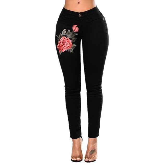 21f2d681c29 Вышивка высокой талией женские джинсы скинни Винтаж рваные Фредди Штаны  стрейч карандаш женские нижние эластичные джинсовые