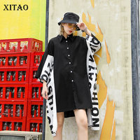 [XITAO] 2019 New Europe Casual Loose Asymmetrical Loose Letter Wrist Sleeve Turn down Collar Women Knee length Dress WLD1052