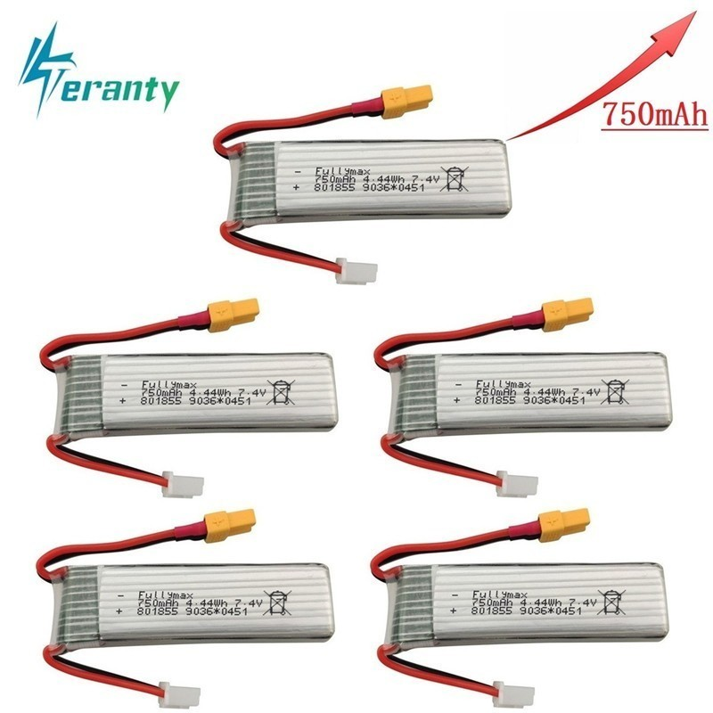Upgraded Version 750mAh 7.4V Lipo Battery For XK K130 RC Helicopter Spare Parts Accessories 7.4v Drone Battery <font><b>801855</b></font> 1pcs 10pcs image