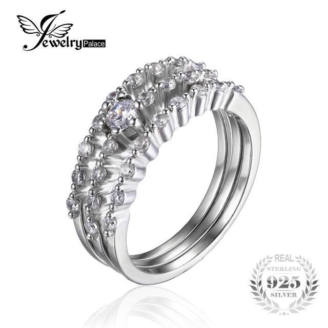 Jewelrypalace mulheres cubic zirconia 3 pcs empilhável anel de banda de casamento do aniversário do noivado nupcial define 925 prata