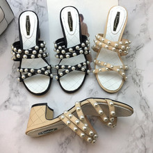 2019 Summer womens pearls sandals Chic elegant high heel slippers shoes EU35-41 size BY676