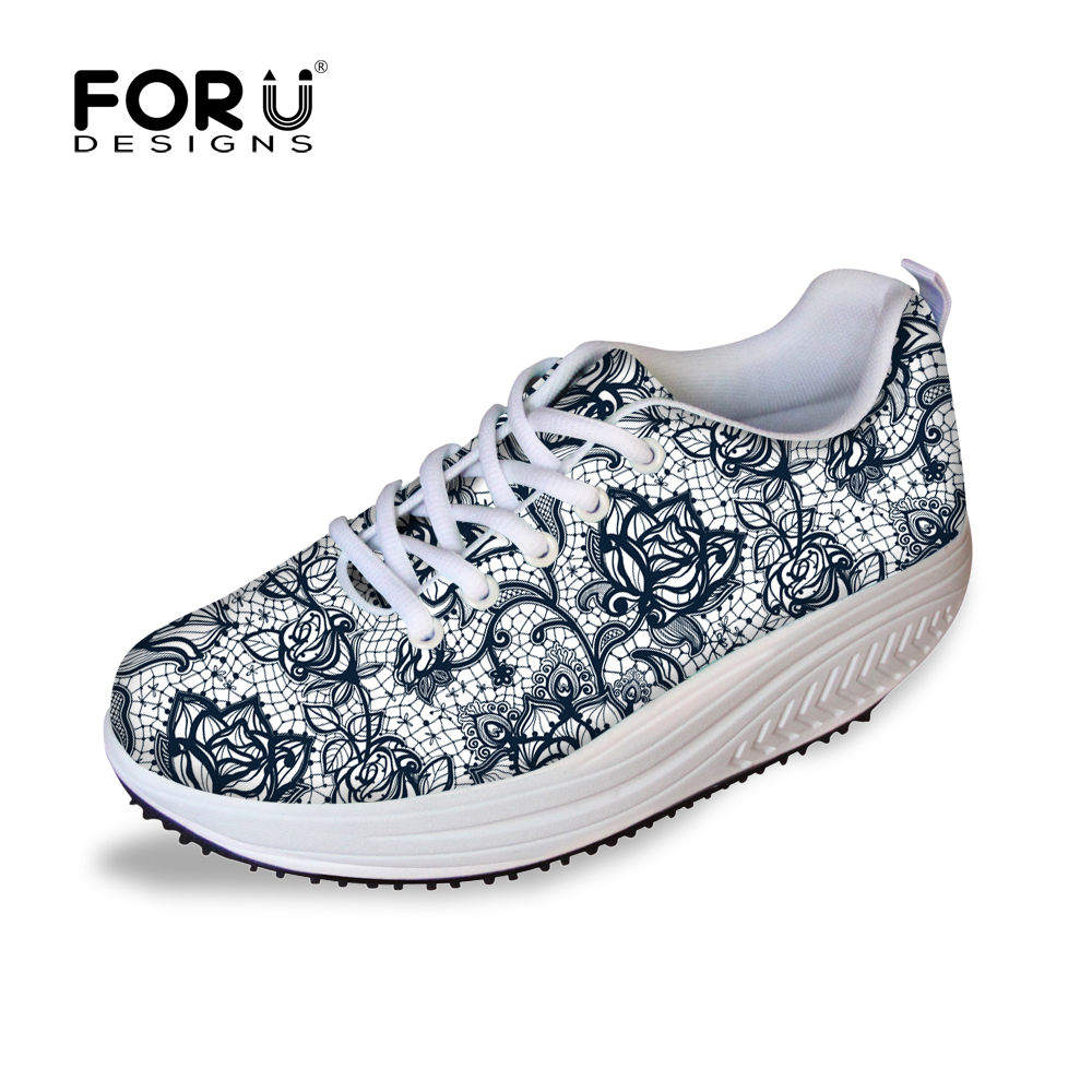 FORUDESIGNS Breathable Women Casual Shoes Lose Weight Lace Pattern Platform Walking Shoes Woman Healthy Street Swing Shoes forudesigns fashion women casual slimming swing shoes graffiti pattern wedge platform shoes for female lady lace up shape ups
