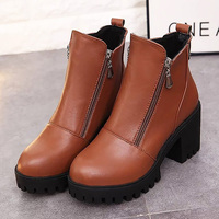 Winter Shoes Women Ankle Boots 2017 Trendy Female Dress Wedges Motorcycle Boots Spring Autumn Solid Platform