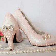 Elegant Sweet Pink Lace Wedding Shoes Fashion Women Bridal Shoes  Evening Shoes Women Pumps Popular Formal Shoes