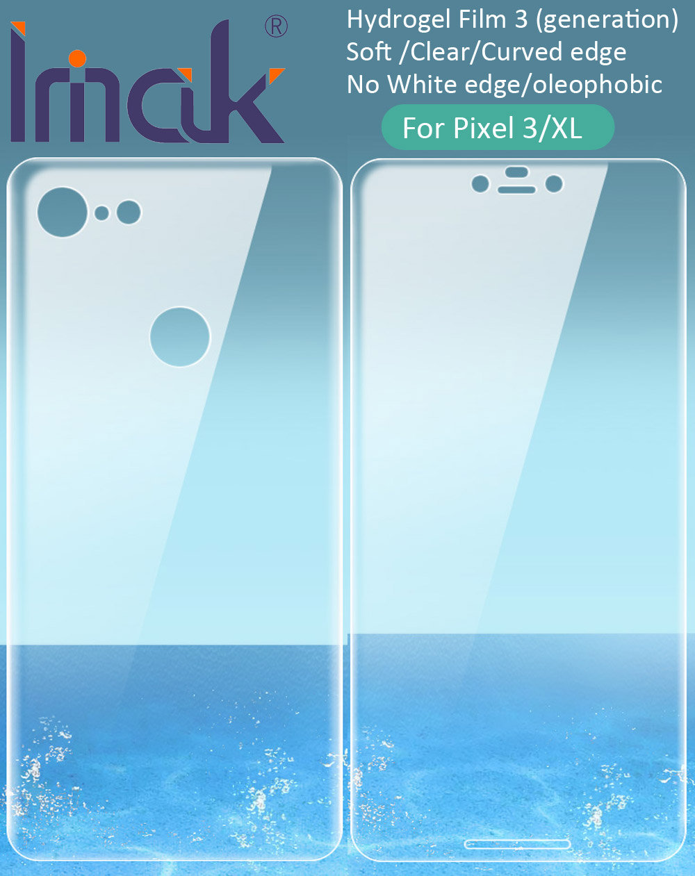 Imak Hydrogel-Film Back-Screen Google Pixel Protective for 3a XL Rear Front Transparent