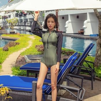 Swimsuit de Uma Peça Swimwear das mulheres Para Os Adolescentes de Manga Longa Roupas Rash Guard Rashguard Surf Fechado Plus Size 2019 Triquinis