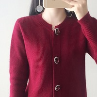 Women Jackets 100% Cashmere and Wool Knitting Cardigans 2018 New O neck Spring Sweaters Female Knitwear Standard Clothes Tops