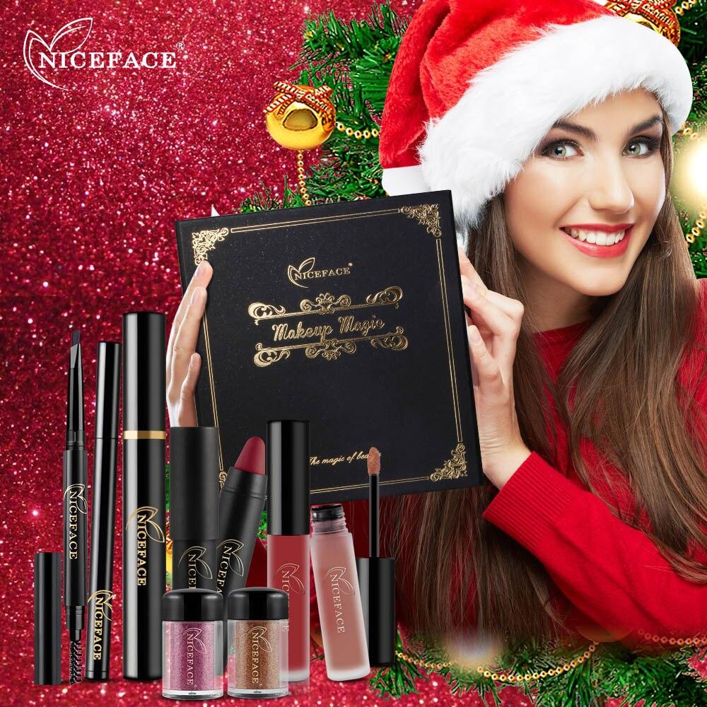 NICEFACE Corredi di Trucco Impermeabile Rossetto Opaco Lip Gloss Ombretto Eyeliner Sopracciglio Mascara di Trucco di Marca Set Regalo Di Natale