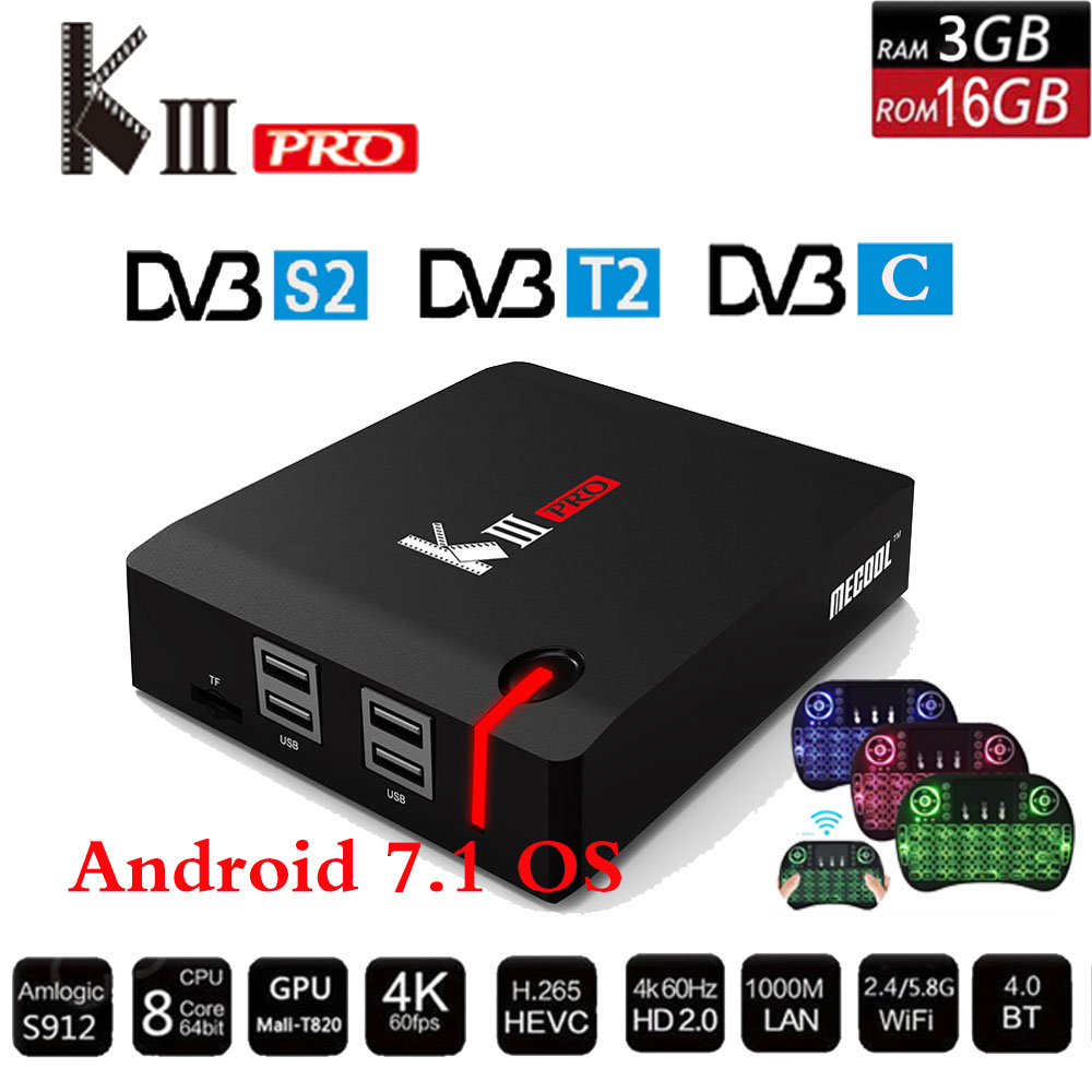 Mecool kiii Pro DVB-S2 DVB-T2 DVB-C Android 7.1 ТВ коробка 3 ГБ 16 ГБ K3 Pro Amlogic S912 Восьмиядерный 64bit 4 К комбинированный CCcam Newcamd