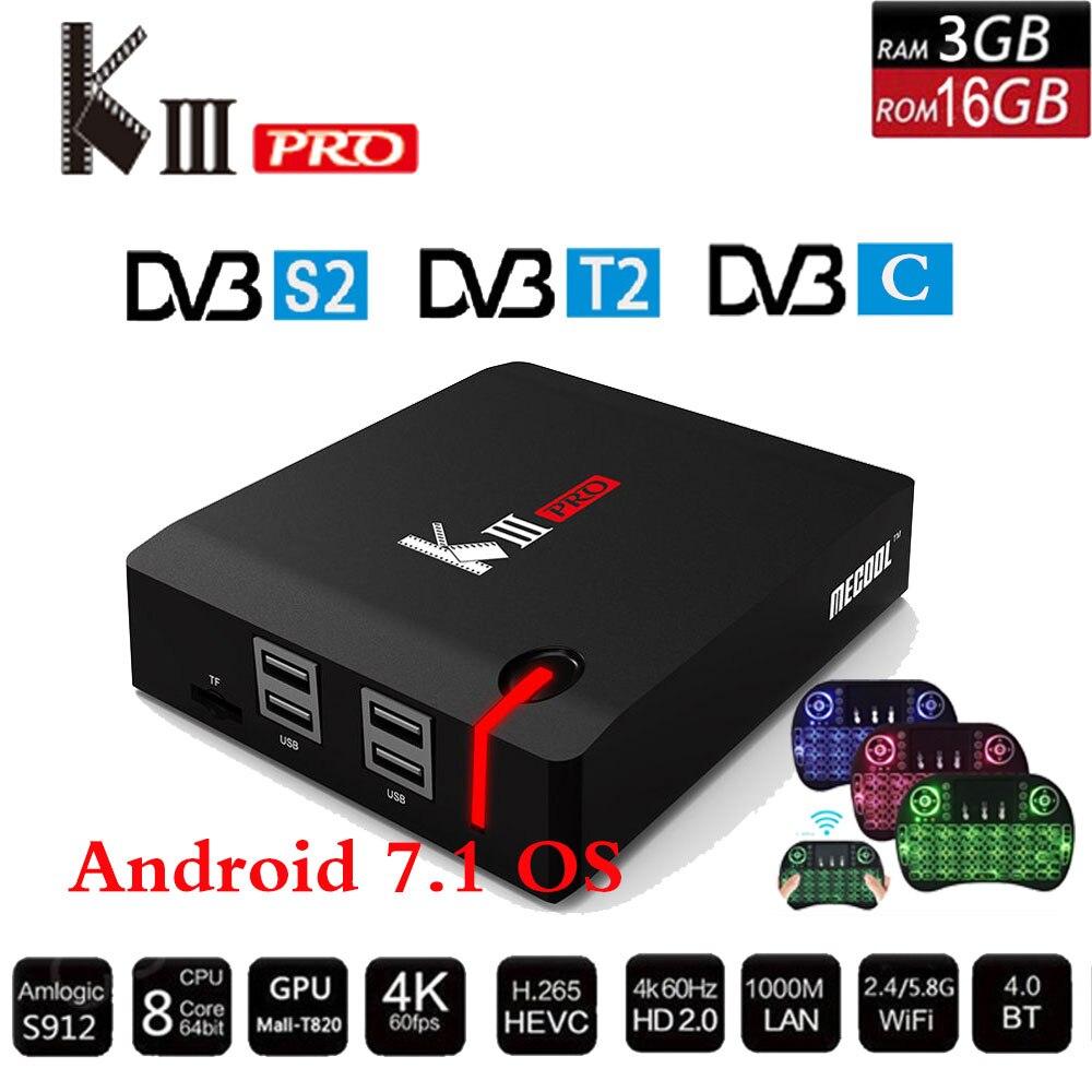 Mecool kiii pro DVB-S2 DVB-T2 DVB-C Android 7.1 TV box 3 GB 16 GB K3 pro amlogic S912 octa Core 64bit 4 K Combo cccam newcamd