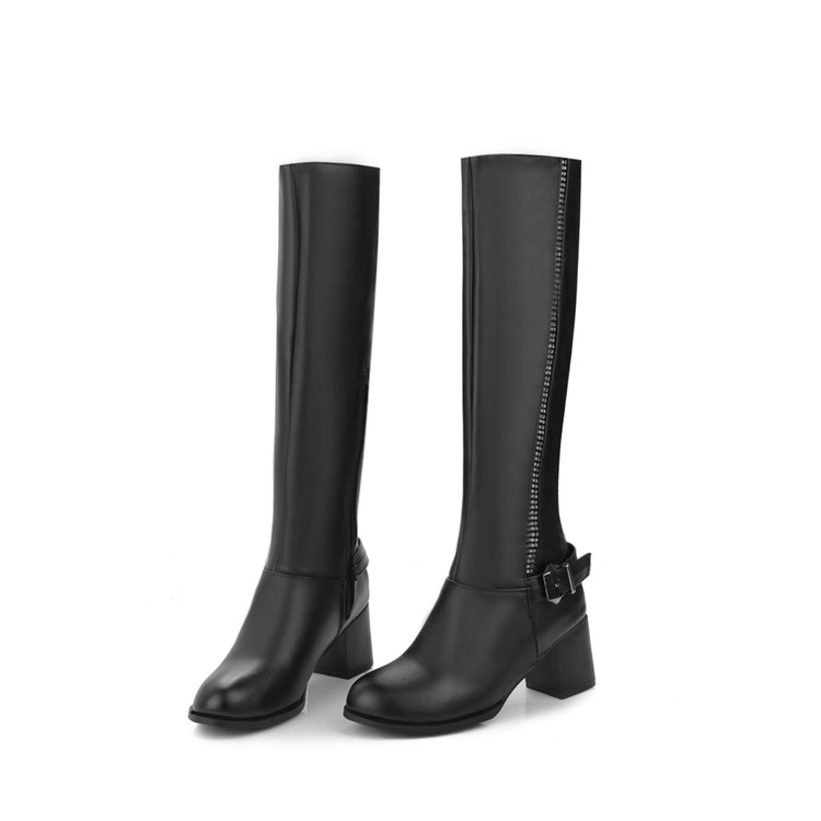 Winter Boots Botas Mujer Big Size 34-45 Women Knee High Boots Sexy Chunky Heels Round Toe Winter Warm Shoes Less Platform T5319 women round toe platform over knee boots sexy woman thin high heel shoes fashion cross strap heels long botas size 34 47
