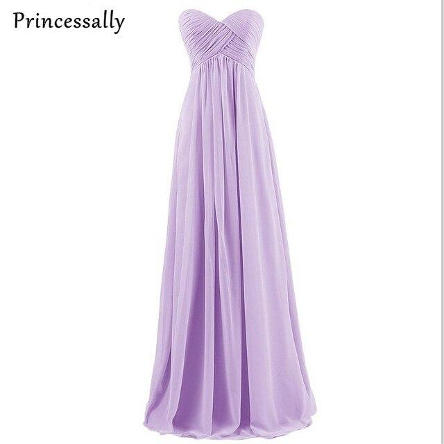 Vestido de dama de honra Longo Lavanda Rosa Mint Azul Royal Sexy Império Chiffon  Plissado Querida ad029bed25e4