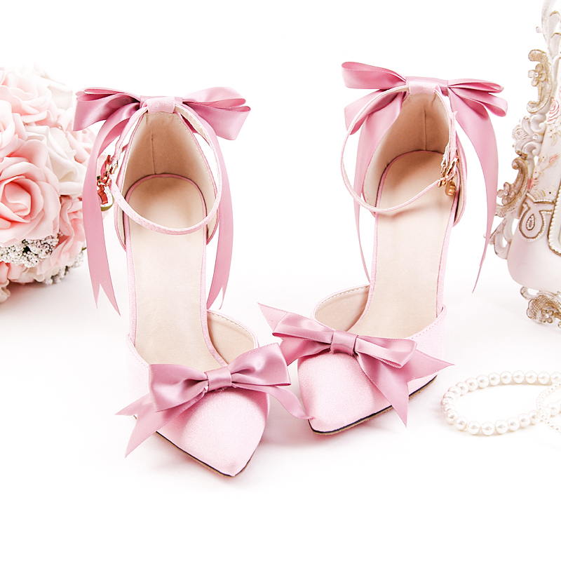 Ladies Sandals Riband Bow Beautiful Style Sweety Princess 10cm High Heels Thin Buckle Anklet Graceful Girls Party Women Shoes