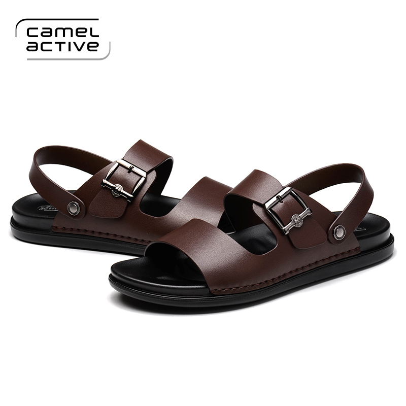 Camel Active Brand New PU Leather Summer Soft Male Sandals Shoes For Men Breathable Light Beach Casual Quality Walking Sandals