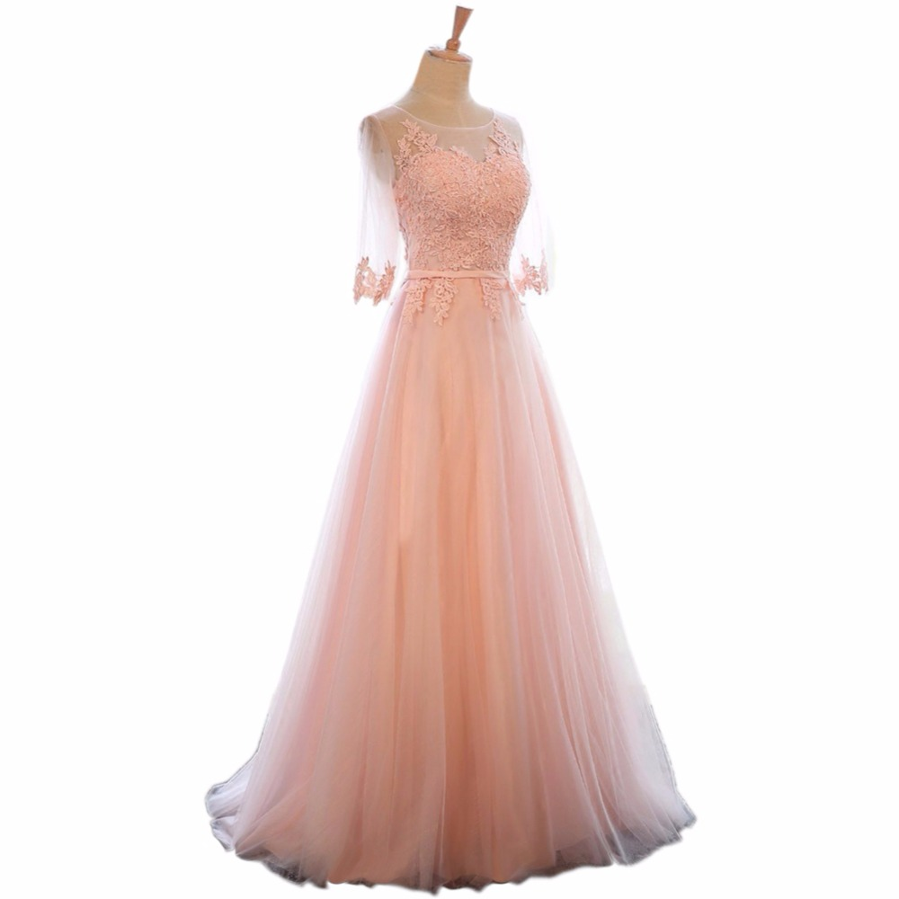 LANSITINA Elegant O-Neck A-Line Sweep Train Lace Evening Dress Cheap Prom Dresses Robe De Soiree Party Dress With Half Sleeves