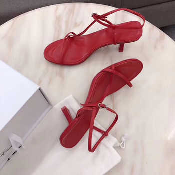 Silla Rulers new summer sexy ladies sheepskin sandals one strap open toe high heels summer shoes for woman runway shoes women