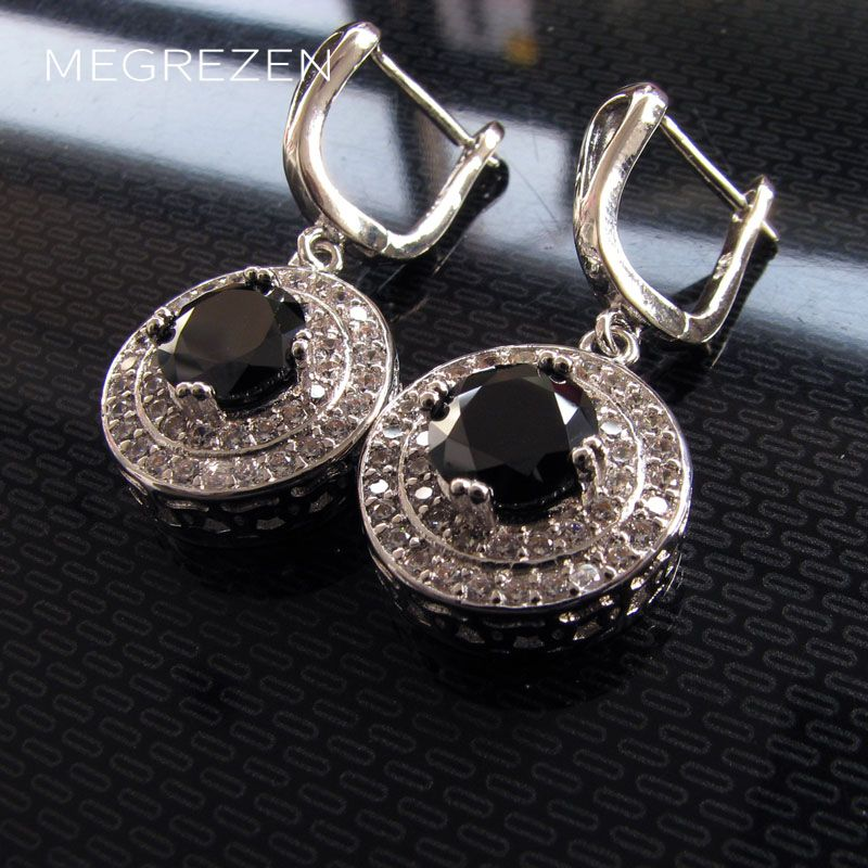 Luxury Black Crystal Earrings For Women Bohemian Vintage Silver Jewelry Evening Earrings Bijoux Boucles D Oreille Longue Ye002