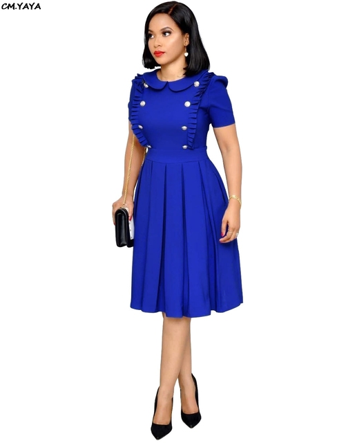 2019 new women short sleeve button ruffles peter pen collar pleated knee length party dress office lady vintage dresses WY6540