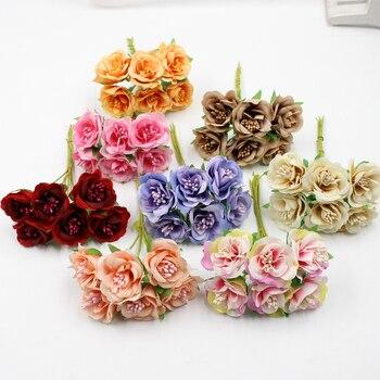 Lote de 6 unidades de 3cm de flores artificiales, ramo de rosas de estambre de seda para decoración del hogar de boda, guirnalda DIY para álbum de recortes, caja de regalo, artesanía de flores