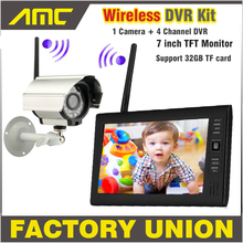 NEW 7 Inch Monitor Wireless CCTV Kit 2.4GHz 4CH Channel CCTV DVR 1PCS Wireless Cameras Audio Night Vision Home Security System