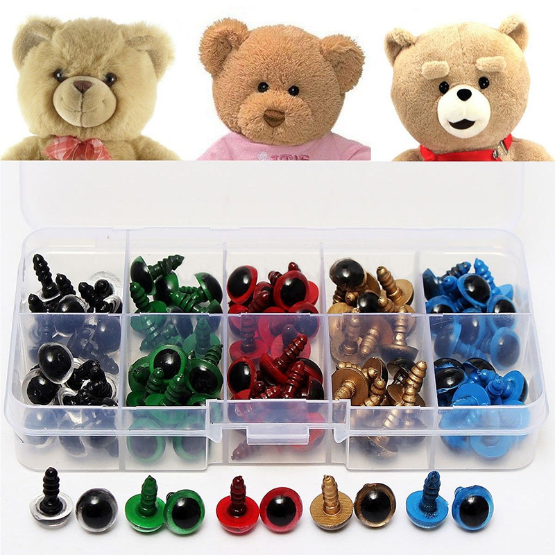 100PCS 8mm Black Safety Eyes for DIY Teddy Bear Soft Toys Animal Mask Doll