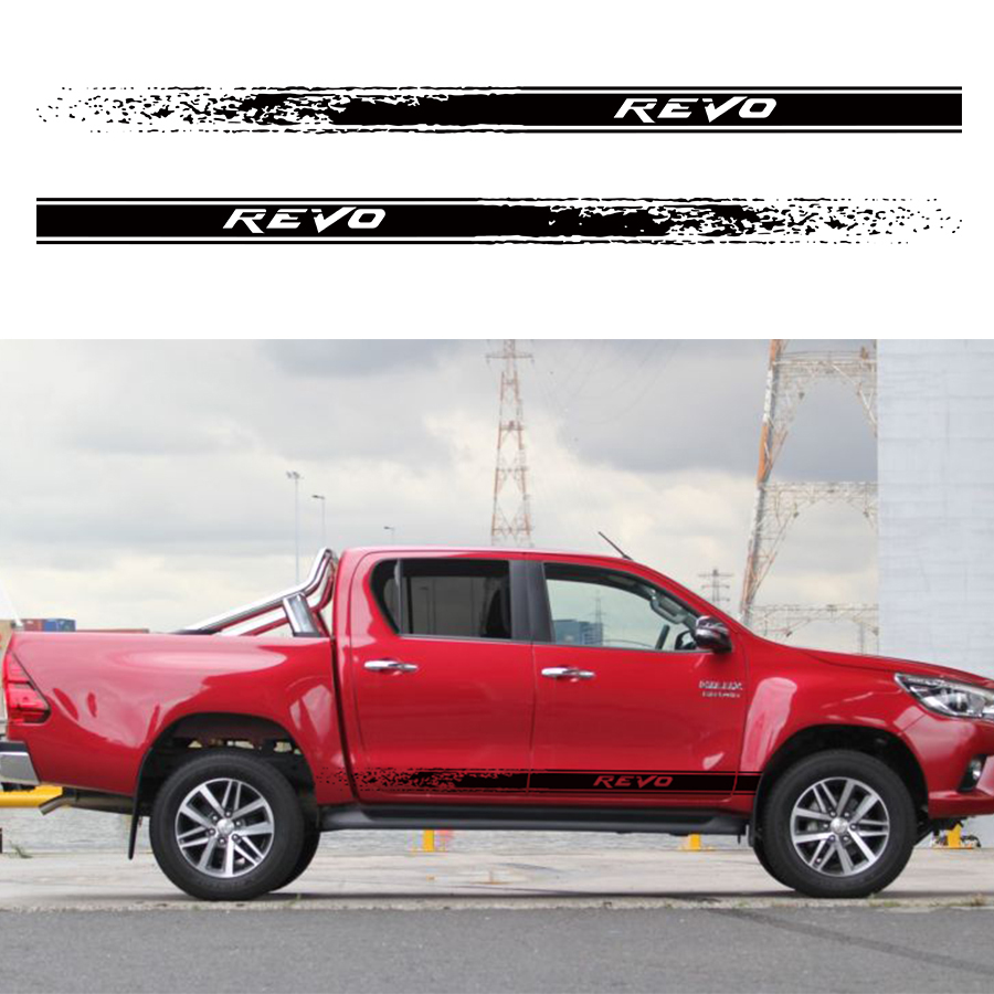 2pc free shipping hilux revo racing side stripe graphic Vinyl sticker for TOYOTA HILUX decals high quality 10pa15c ac compressor for car toyota hilux revo dsl 447170 2721 4471702721