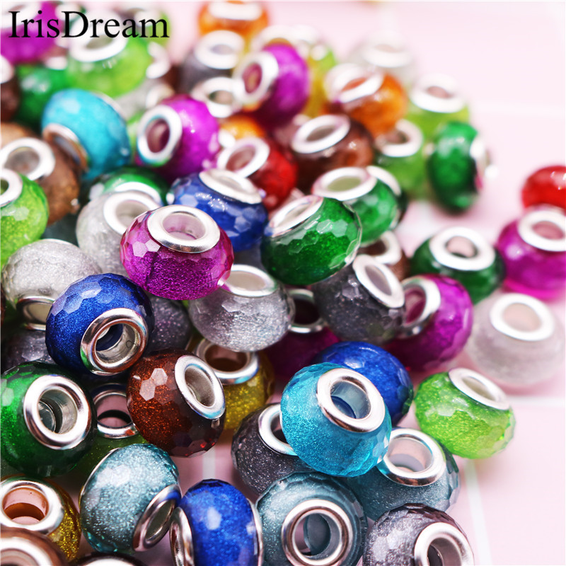 New 20PCS Lot Gold Powder Dust Cut Faceted Plastic Resin Murano Glass Beads Fit Pandora Charms Bracelet For DIY Jewelry Making